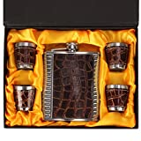 #6: JONQUIN 7Oz Snake Skin Pattern Hip Flask Set
