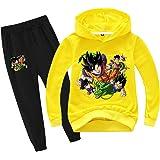 Silver Basic Niños Dragon Ball Sudadera con Capucha y Pantalones Chándal Anime Japonés Son Goku Sudadera y Pantalones Conjunt