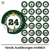 24 Adventskalender-Zahlen (Aufkleber Etiketten Sticker) | Romantic Snow Dekor | Schrift: Butterkeks | Rund | XL » Ø 85 mm | Tannen-Grün | FB0013-05