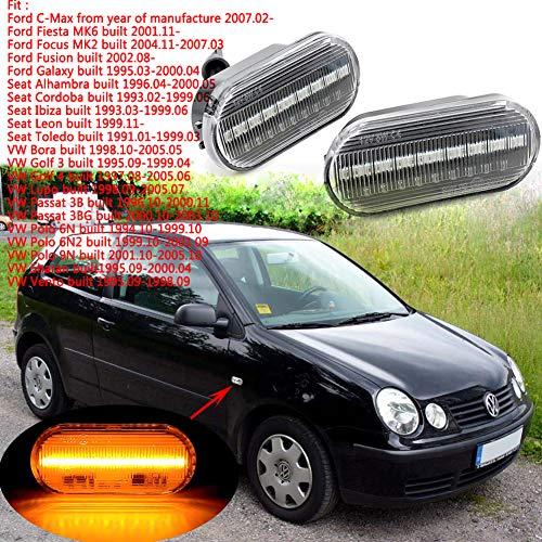RONSHIN Autozubehör LED Auto Bernstein Signal Licht Seite fließendem Wasser Blinker für Volkswagen Golf Bora Passat Black with Flowing Water