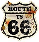 8 x 7,5 cm - Wappen Konturschnitt - Autoaufkleber Route 66 Vintage Retro USA Old School Motorcycles Sticker Aufkleber fürs Auto Motorrad Handy Laptop