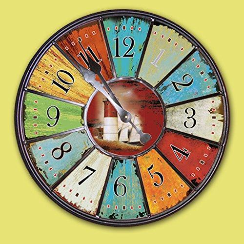 DOSWOBB Scandinavian soggiorno orologio da parete orientale di decorazione giardino mediterraneo vintage mestieri antichi orologi decorativi orologi,Altri,diametro di 34cm
