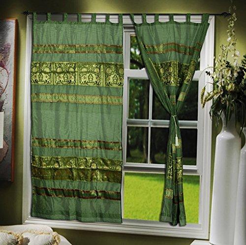 Design Indische Seide Dekorative Tab Top Vorhang Tür Valance 108 x 216 cm