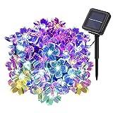 Solar Lichterkette, YUNLIGHTS 8M 50LEDs Wasserfeste Solar Blumen Lichterkette mit 8 Moden, Solar betriebene Outdoor multi-Farblichter für Weihnachts- oder Partydekorationen
