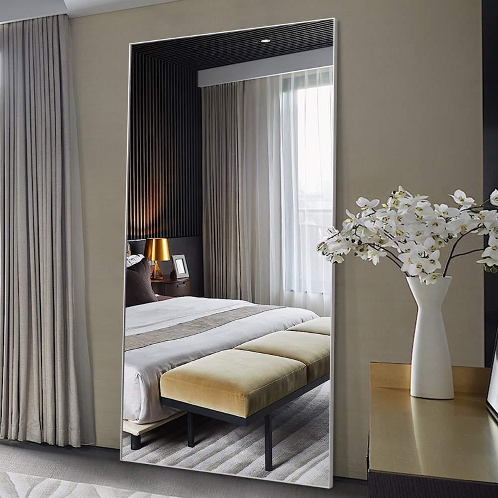 Specchio da Terra- Specchio da Pavimento per Camera da Letto con Specchio  in Lega di Alluminio (Colore : Aluminum Color, Dimensioni : 65 * 170cm)