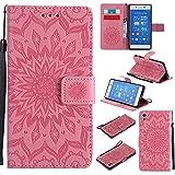 JIALUN-Fall für Sony Für Sony Z4 Fall, mit Lanyard, Card Slot, Magnet Wölbung und Built-in Stent Printing Flat Open The Phone Shell Einfach und Stilvoll (Color : Pink)