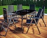 VCM Alu Sitzgruppe 150x90 Gartenmöbel Gartengarnitur Tisch Stuhl Essgruppe Gartenset 6 Stühle + 1 Tisch
