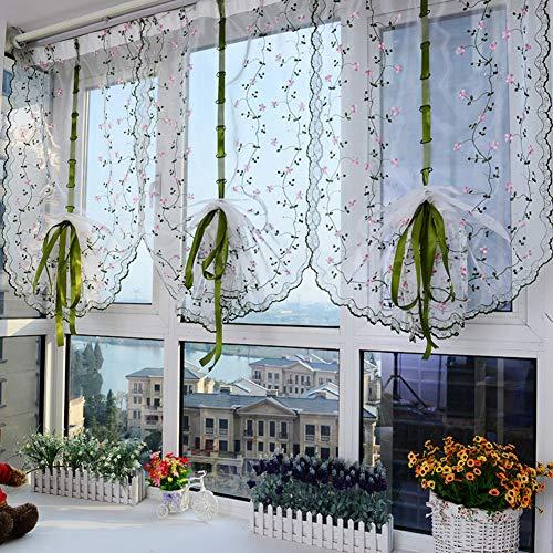 Haoly semi-tende oscuranti,pali di usura ricamo gli schermi della finestra,tende alla veneziana tende di pull-up sollevare tende per balcone camera da letto 1pcs-a 80x100cm(31x39inch)