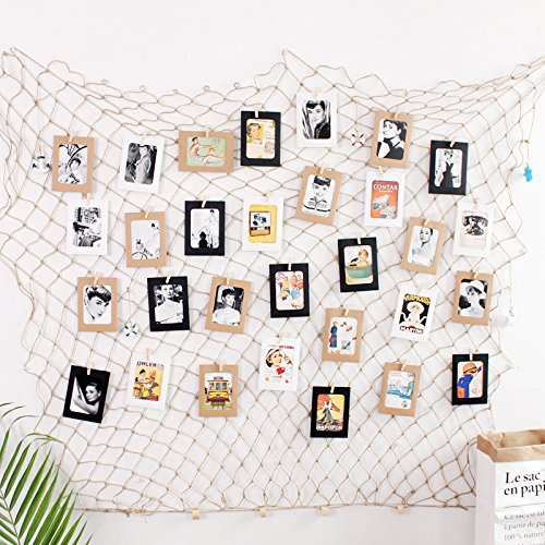 Fishing Net Photo & Artwork Hanging Display - Family Pictures Children Artwork and Painting Display - Home Party Bedroom Wall Decorations - Multi Picture Frames Collage Decor (with 40 Clip),B
