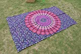 RoomyDeal Indian Tapestry Wall Decor Hippie Mandala Tapestries Purple Bohemian Wall Hanging Throw Feather Peacock Print Cotton Handmade Badsheet Twin Size Hippy Coverlet Curtain New Age Tapestry Home Decor Art Beach Throw Towel Yoga Mat Blanket 85x55 Inch