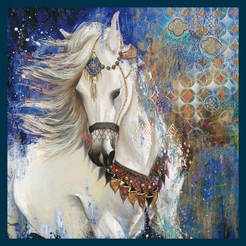 Bild mit Rahmen Valerie Maugeri - Jardin Sauvage - Holz blau, 30 x 30cm - Premiumqualität - , modern, Pferd, Pferdekopf, Rassepferd, Schimmel, Muster, orientalische Muster, dekorativ, .. - MADE IN GERMANY - ART-GALERIE-SHOPde