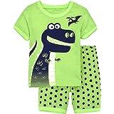 EULLA Pijama para niño, diseño de dinosaurios, excavadora, manga corta 1# Dinosaurio 92 cm