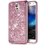 Cover Galaxy Note 4,Custodia Galaxy Note 4,ikasus Placcatura Cristallo Lucido scintillio caso Bling Glitter diamante Morbida TPU Silicone Gel Custodia Case Cover per Galaxy Note 4,Rosa