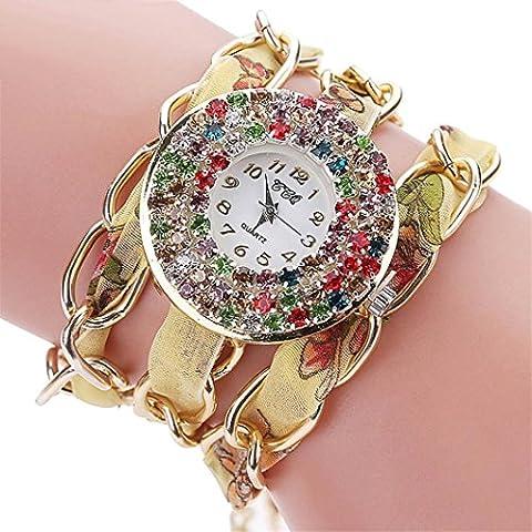 Zolimx Damen Analoge Quarz Armbanduhr, Weinlese Rhinestone Kristall Armband (F)