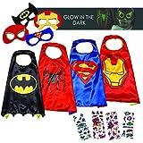 LAEGENDARY Disfraces de Superhéroes para Niños - 4 Capas y Máscaras - Logo Brillante de Spiderman - Juguetes para Niños y Niñas