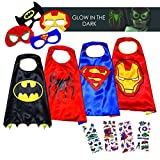 LAEGENDARY Costumi da Supereroi per Bambini - 4 Mantelli e Maschere - Costumi di Halloween - Logo di Spiderman Visibile al Buio – Giocattoli per Bambini e Bambine