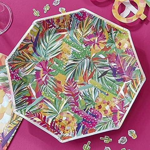 Hot Summer - Iridescent Tropical Print Paper Plates
