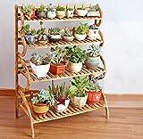 JE Scaffali per fiori Soggiorno in legno massiccio Balconi Scaffali da pavimento Piano piano Mensola 4 livelli L * W * H: 70 * 41 * 115cm ( Colore : Carbon baking color )