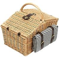 Greenfield Collection Somerley - Cesta de picnic en mimbre con manta, para 4 personas, color marrón