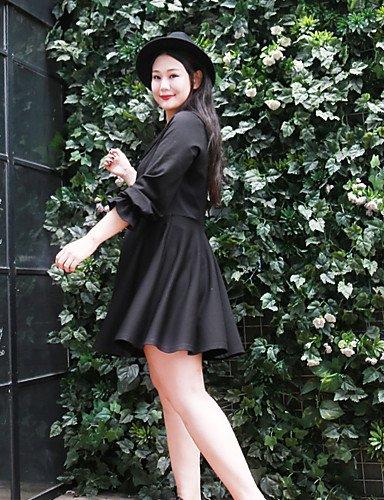 DESY Women's Plus Size / Casual / Daily Simple Loose DressSolid Peter Pan Collar Au-dessus du genou Long Sleeve Rouge / Noir Coton / Nylon Automne / Hiver ruby