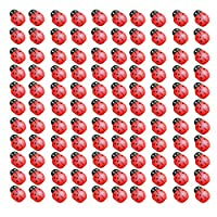 100PCS Mini Cute 3D Red Wooden Ladybird Ladybug Sponge Wall Stickers