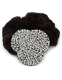 Black Tone Diamante 'Trinity' Pony Tail Black Hair Scrunchie - Clear