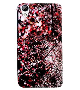 Blue Throat Red Flower Pattern Hard Plastic Printed Back Cover/Case For HTC Desire 626