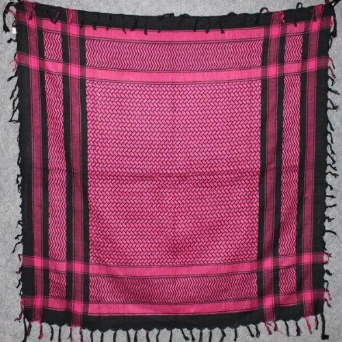 Freak Scene® Foulard palestinien/keffieh en coton - couleur de base noire - 100 x 100 cm - Large palette de couleurs! noir motif rose vif no2