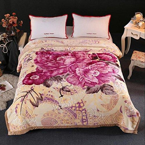 YAOHAOHAO Hellgelb Blumenmuster Herbst und Winter Modelle Crystal Zudecken war Decke individuelle Umweltschutz Drucken (195 * 225 cm)
