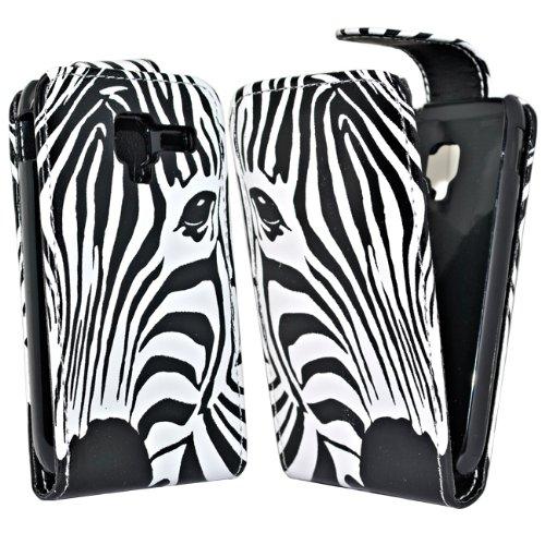 Accessory Master -Custodia in Pelle per Samsung Galaxy Ace 2 i8160, Motivo zebrato, Colore: Bianco/Nero