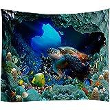 XIAOBAOZIGT Hd-Tapisserie Multifunktions-Tapisserie Meeresschildkröte In Der Meereshöhle Digitaldruck Tischdecke Wandverkleidung Sandmatte Inneneinrichtung 100×150Cm