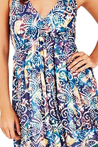 Femmes Pistachio Floral Ou Imprimé Aztèque Midi Femmes Coton Robe Bretelle Bleu - Pointillé Aztèque