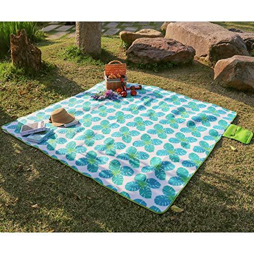 WolfWise 200 x 200 cm XXL Picknickdecke, Wasserdichte Campingdecke Stranddecke Outdoordecke aus Weiches Fleece Sandfrei mit Tragetasche, Kleine Monstera