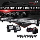 252W 39' flood spot led light bar off road lampe Barre Projecteur Phare de Travail LED + 2x 18W brouillard LED rampe de toit feu de recul Feux Diurne lumière Camion Tracteur 4x4 Bateau Quad 12V-24V
