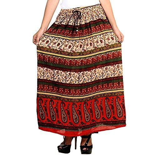 Shree Ram Impex Women's Jaipuri Traditional Sanganeri Print rayon long Bagru skirt  available at amazon for Rs.339