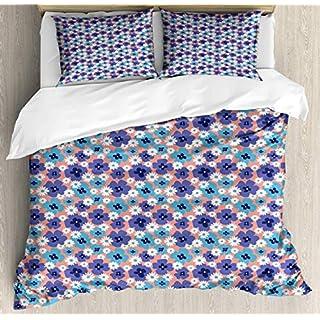 LnimioAOX Lebendige Bettbezug-Set Simplistic Doodle von Spring Poppy Blossom Blumenmuster, dekorative 3-teilige Bettwäsche mit 2 Kissenbezügen, Deep Sky Blue Dark Ceil Blue Coral King