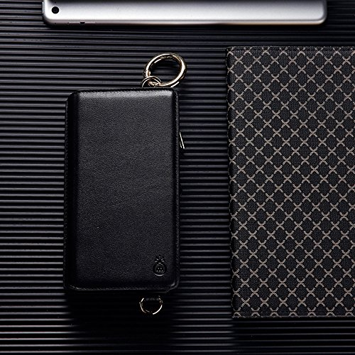 Cover per iPhone 7 Card Slots,Custodia per iPhone 8 (4.7 Pollice),Bonice Premium Multifunzionale Pelle Portafoglio Staccabile Detachable Removable Folio Zipper Protettivo Case Multiplo Extra Slot per  Crossbody Strap-Cover-01