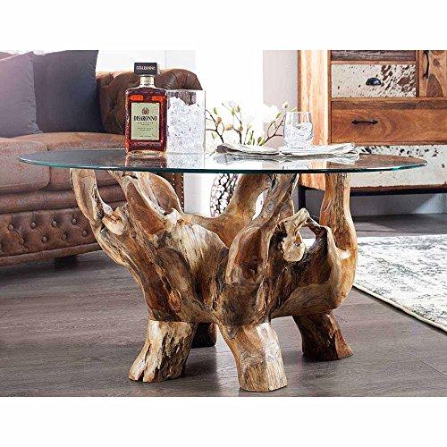 Pharao24 Wohnzimmer Couchtisch aus Teak Wurzelholz mit Runder Glasplatte