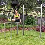 Outdoor-Turngerät Fitness-Station Dip Buin von TOLYMP® hochwertig und stabil aus V2A-Edelstahl mit Dip-Barren, einer vielfach verstellbaren Turnstange