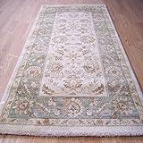 Largo Ziegler o alfombra para tejido tradicional Wilton aspecto usado alfombra Crema y Verde 66 x 240 cm