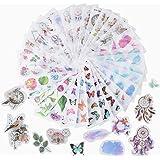 JNCH 30 Feuilles Autocollants Stickers Motifs Plantes Fleurs Papillon Gommettes Décoratifs Cartoon Etiquettes Adhésif Deco de