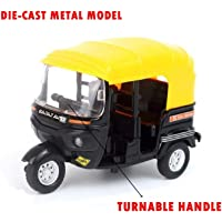 Emob® 1:14 Scale Diecast Metal Body Pull Back Auto Rickshaw Toy with Light and Sound Effects (Black)