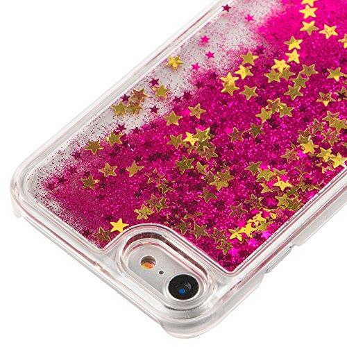 iPhone 7 Hülle Transparent,iPhone 7 Hülle Glitzer,iPhone 7 Case Slim,Schutzhülle Für iPhone 7 Hülle Transparent Hardcase,EMAXELERS 3D Kreative Liquid Bling Kristall Glitzer Hülle Case Für iPhone 7,iPh Star 2