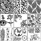 Yircep Set mit 9 Herz-Zeichnungs-Schablonen – verschiedene Muster, Kunststoff, Planer, DIY Zeichnung, Malschablone für Tagebuch, Scrapbooking, Karten und Kunstprojekte – Blumen und Blätter