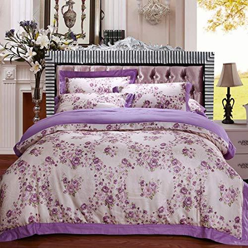 AREDOVL Einfache Baumwollsatinfarbe Baumwoll-Hohlsaum-Jacquard-Bettwäsche 4-teiliges Set (Color : Purple, Size : Queen) -