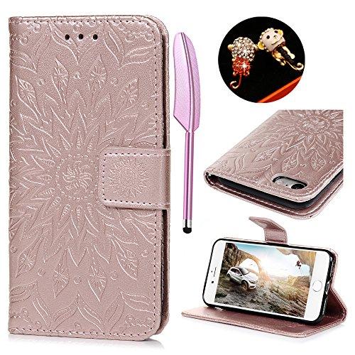 iPhone 7 Flip Cover, Custodia Libro Pelle PU e TPU Silicone con Funzione Supporto Chiusura Magnetica Portafoglio Libretto Bumper Case per iPhone 7, Girasole Oro Rosa