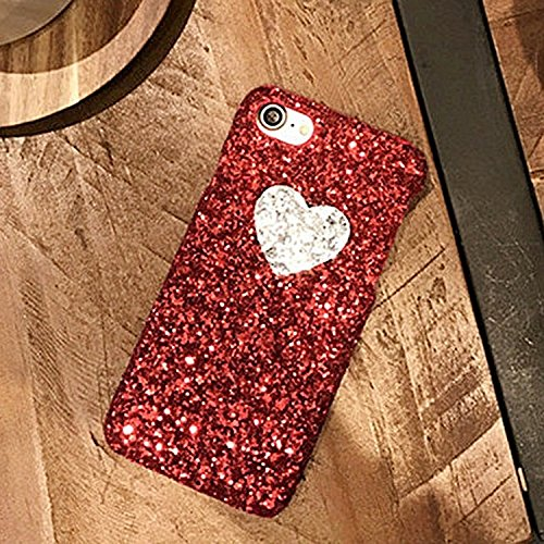 GHC Cases & Covers, Herz-Form-Funkeln-Puder-harter schützender rückseitiger Abdeckungs-Fall für iPhone 7 ( Color : Black ) Red