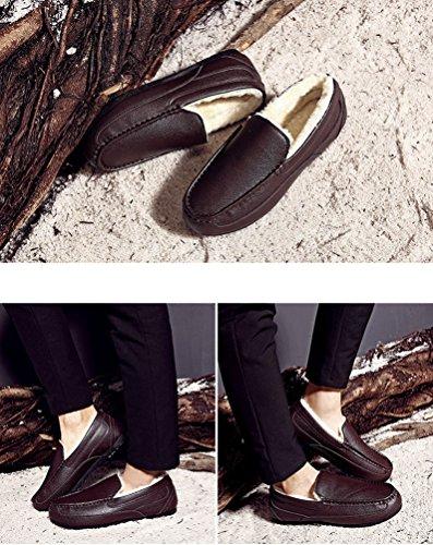 Dooxi Hommes Hiver Chaud Doublure en Fausse Fourrure Chaussures de Bateau Décontractée Confortable Loafer Plates Chaussures Marron