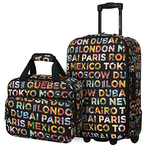 David Jones - Set Valise Cabine Souple Légère + Mallette Vanity - Toile Motif Multicolore - Bagage à Main...