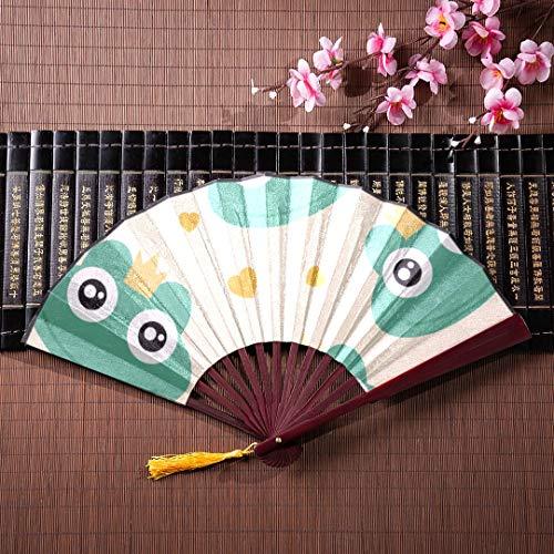 WYYWCY Handfächer Japanischer Frosch Niedliche Tierkarikatur Mit Bambusrahmen Quaste Anhänger Und Stofftasche Chinesische Fans Faltfächer Hand Persönlicher Fan Faltbarer Handfächer -